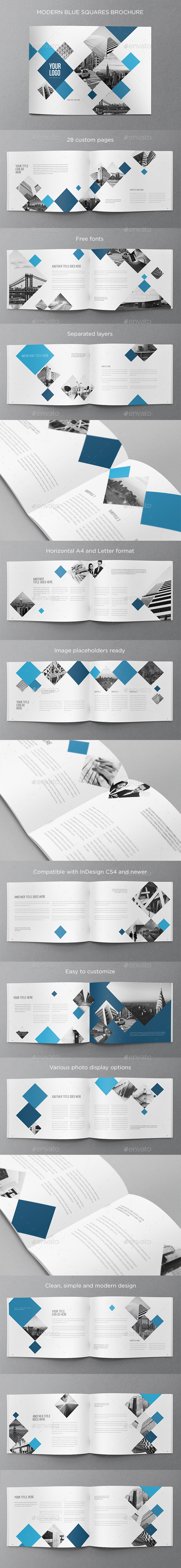 GraphicRiver Modern Blue Squares Brochure 11065766