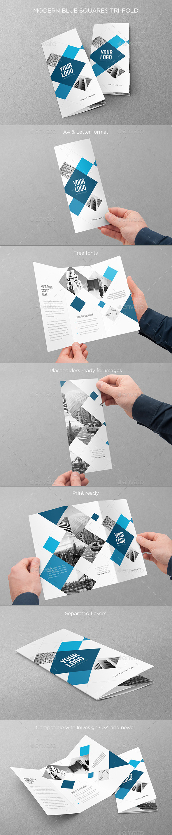 GraphicRiver Modern Blue Squares Trifold 11066694