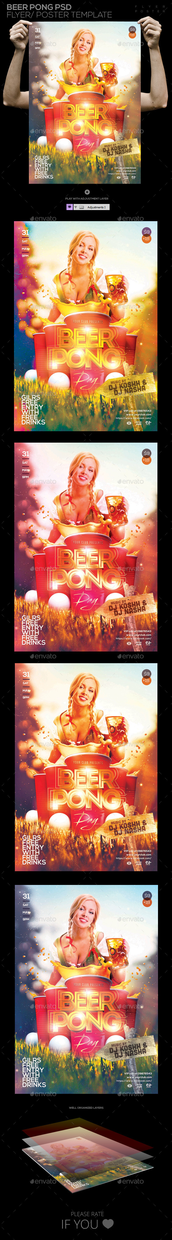 GraphicRiver Beer Pong Game Party PSD Flyer POSTER Template 11066773