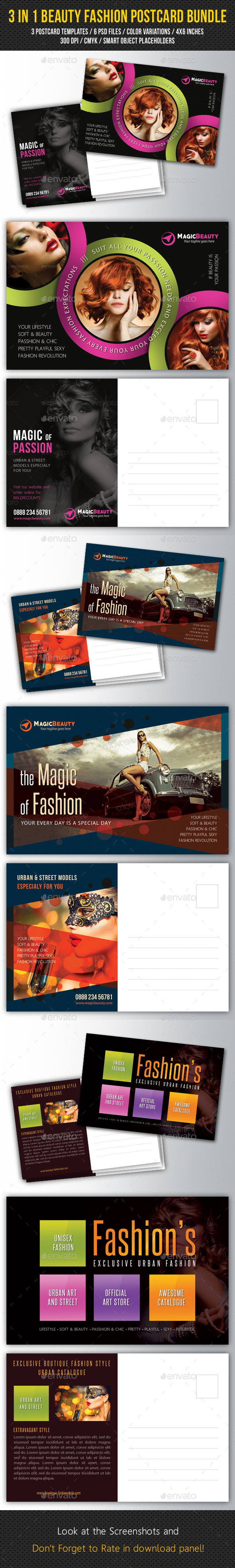 GraphicRiver 3 in 1 Beauty Fashion Postcard Bundle 11066900