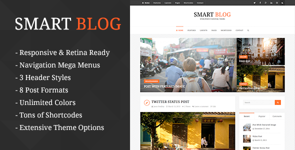 ThemeForest Smart Blog Wordpress Theme For Personal Blog 10823732