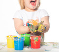 Little girl playing with paints - PhotoDune Item for Sale