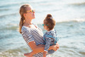 Mother with daughter on the beach - PhotoDune Item for Sale