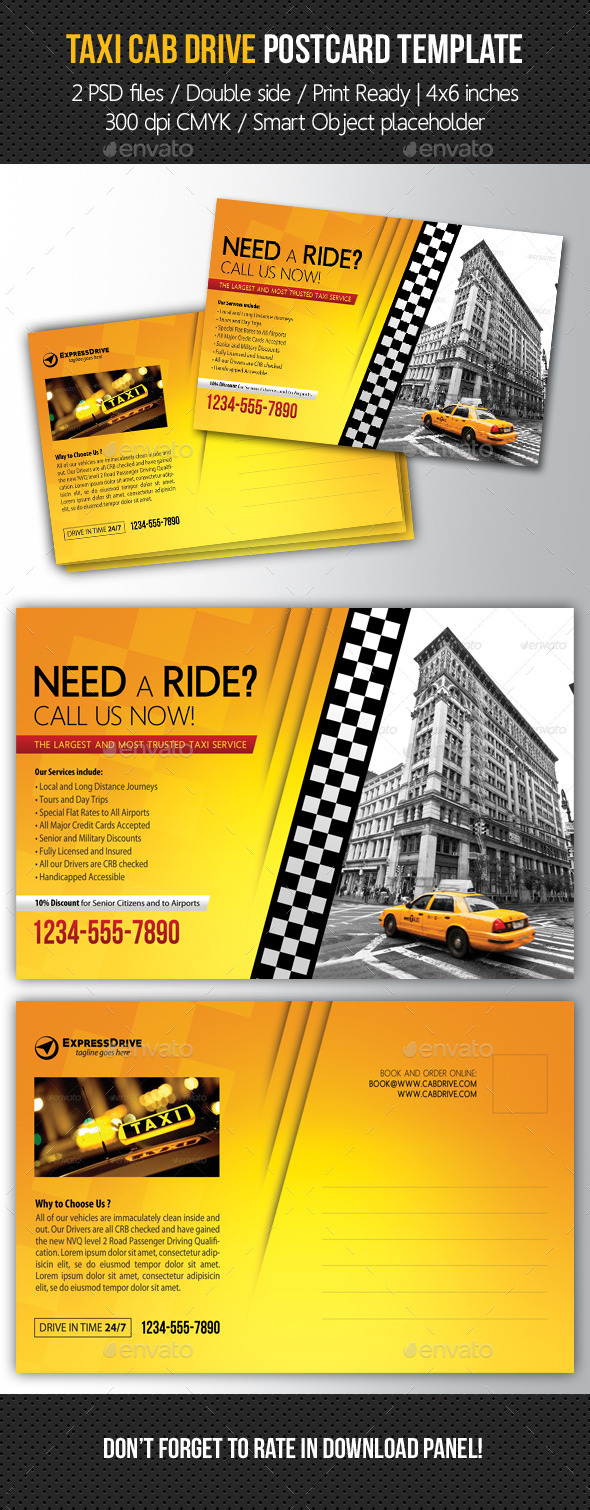 GraphicRiver Taxi Cab Drive Postcard Template 11067774