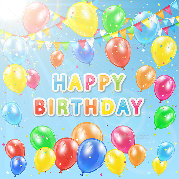 GraphicRiver Colorful Birthday Background 11067933