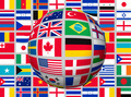 Globe on a background with flags of the world.  - PhotoDune Item for Sale