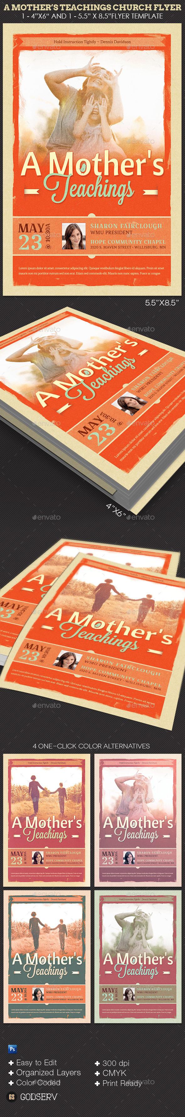 A Mother's Teachings Church Flyer Template - Church Flyers