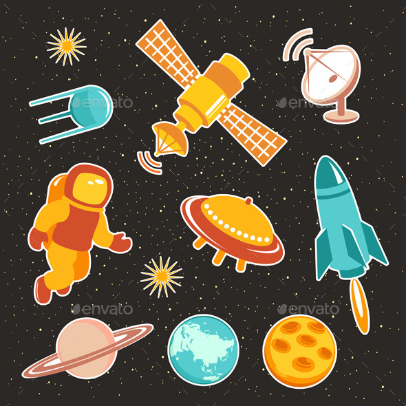 GraphicRiver Space Ship Icons With Planets And Astronaut 11068870