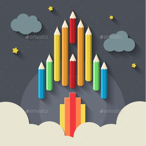 GraphicRiver Pencil Rockets 11069427