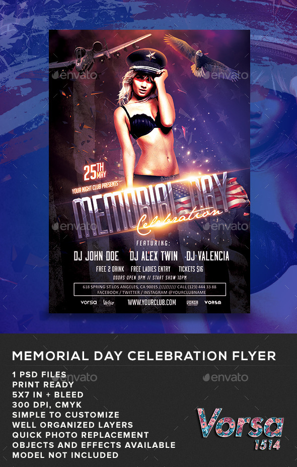 GraphicRiver Memorial Day Celebration Flyer 11069429