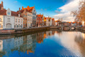 Bruges canal Spiegelrei with beautiful houses, Belgium - PhotoDune Item for Sale