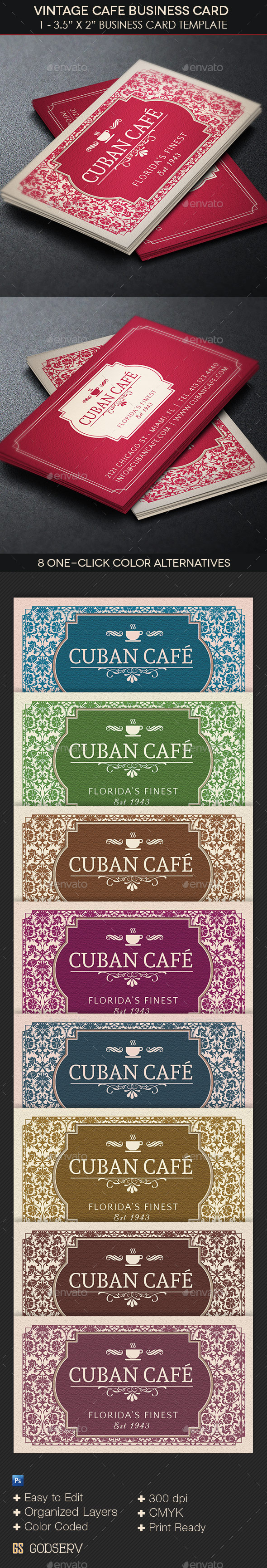GraphicRiver Vintage Cafe Business Card Template 11069491