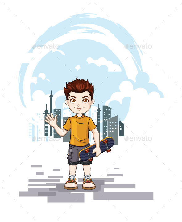 GraphicRiver Boy Playing Skateboard with City Landscape 11069653