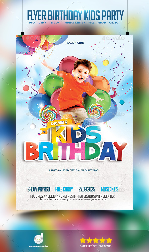 GraphicRiver Flyer Birthday Kids Party 11069898