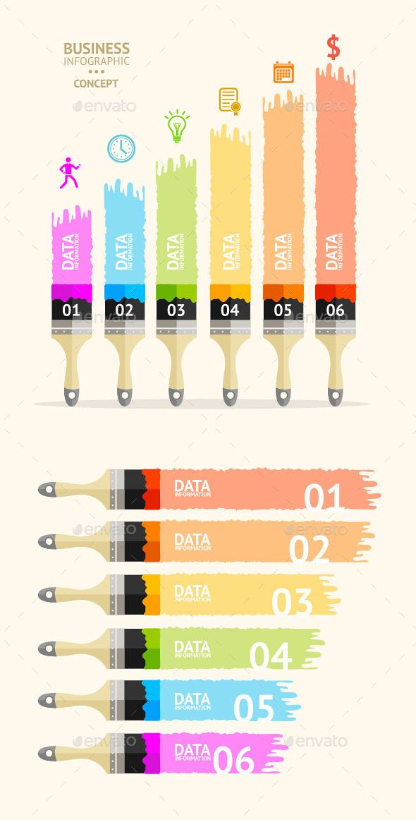 GraphicRiver Paint Brush Infographic 11070104