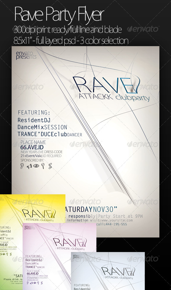 GraphicRiver Rave Party Flyer 136332