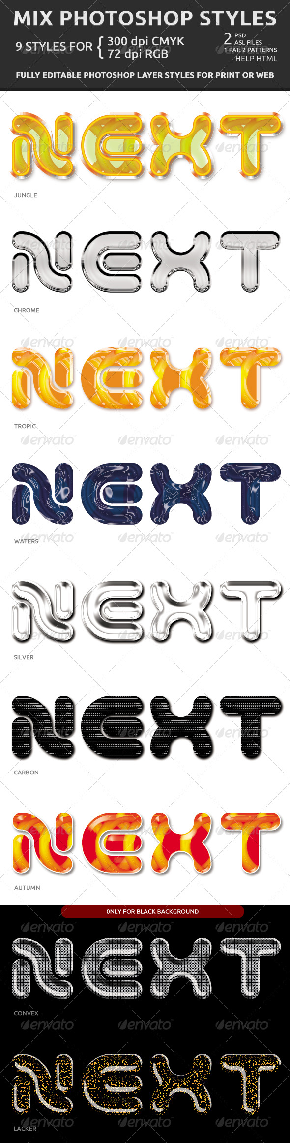Mix Photoshop Styles - Text Effects Styles