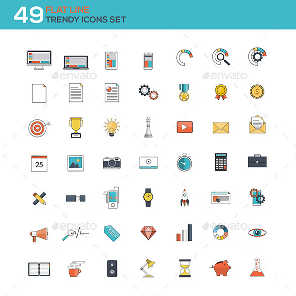 GraphicRiver Flat Line Icons Set 11070601