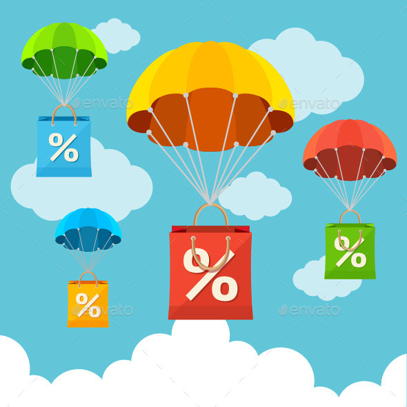GraphicRiver Paper Sale Bags with Parachutes 11070663