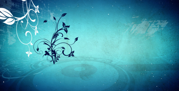Blue abstract flowers background loop
