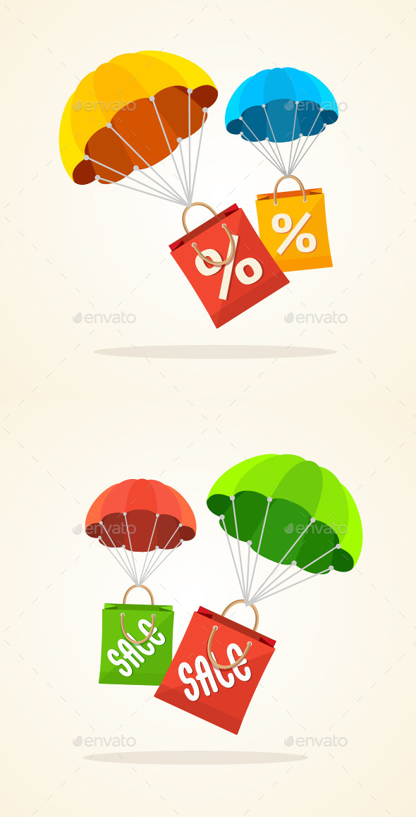 GraphicRiver Parachute Paper Bag Sale 11071044