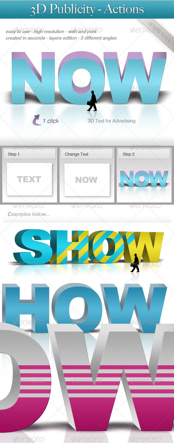 3d for Publicity - Text Effects Actions