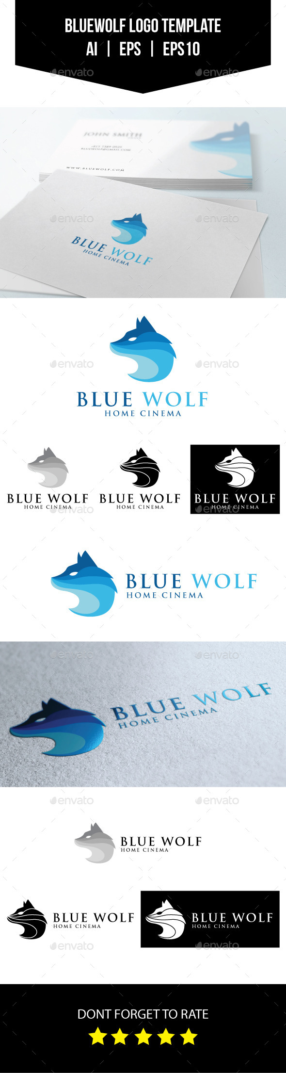 GraphicRiver Blue Wolf Logo Template 11071242