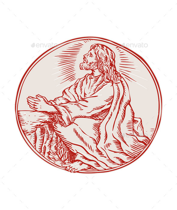 GraphicRiver Jesus Christ Agony in the Garden Etching 11071471