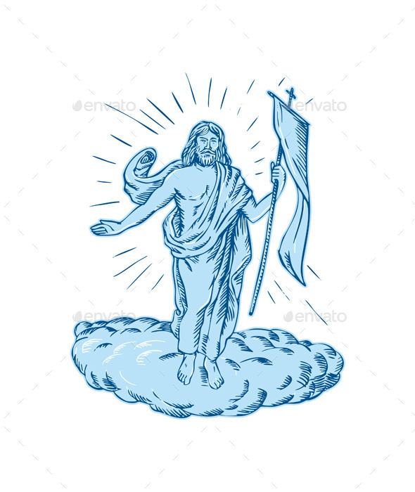 GraphicRiver Jesus Christ Resurrection Etching 11071481