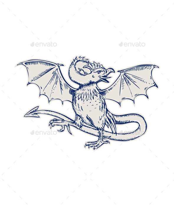 GraphicRiver Basilisk Crowing Etching 11071624