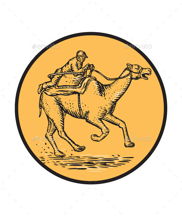 GraphicRiver Jockey Camel Racing Circle Etching 11071632