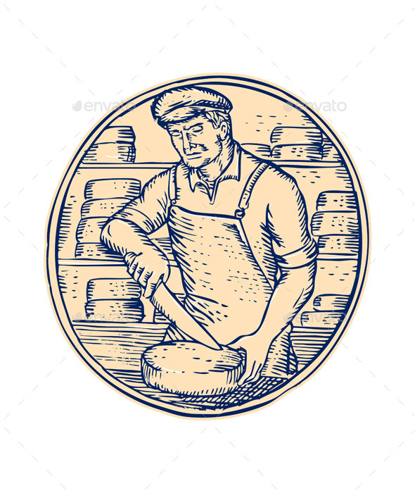 GraphicRiver Cheesemaker Cutting Cheddar Cheese Etching 11071690