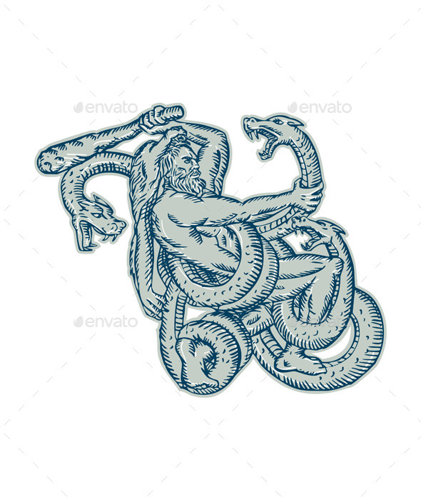 GraphicRiver Hercules Fighting Hydra Club Etching 11071828