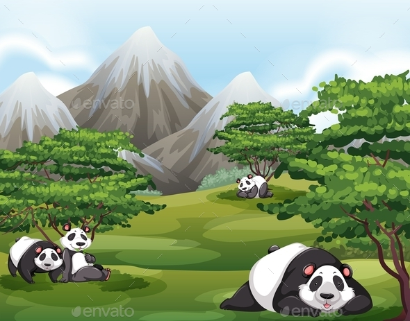 GraphicRiver Pandas in Forest 11071836