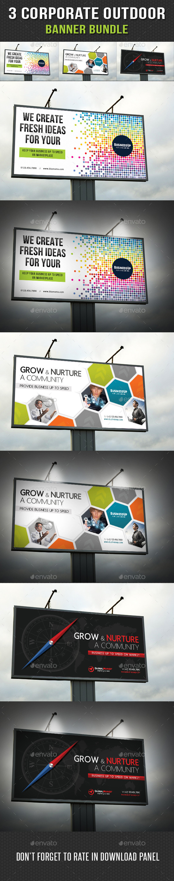 GraphicRiver 3 in 1 Corporate Outdoor Banner Bundle 11 11072280