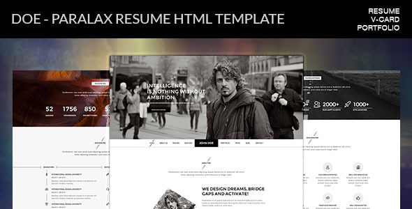 ThemeForest Doe Parallax Resume HTML Template 11039470