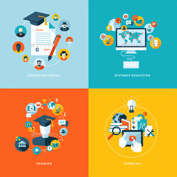 GraphicRiver Flat Design Concept Banners for Education 11073573