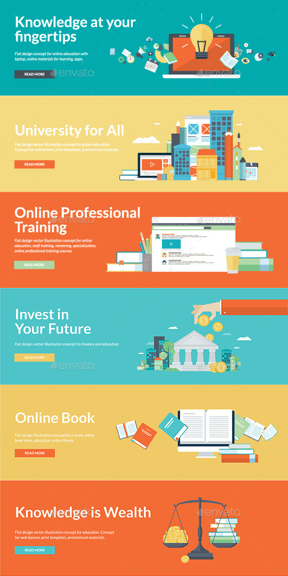 GraphicRiver Flat Design Style Concepts for Online Education 11073658