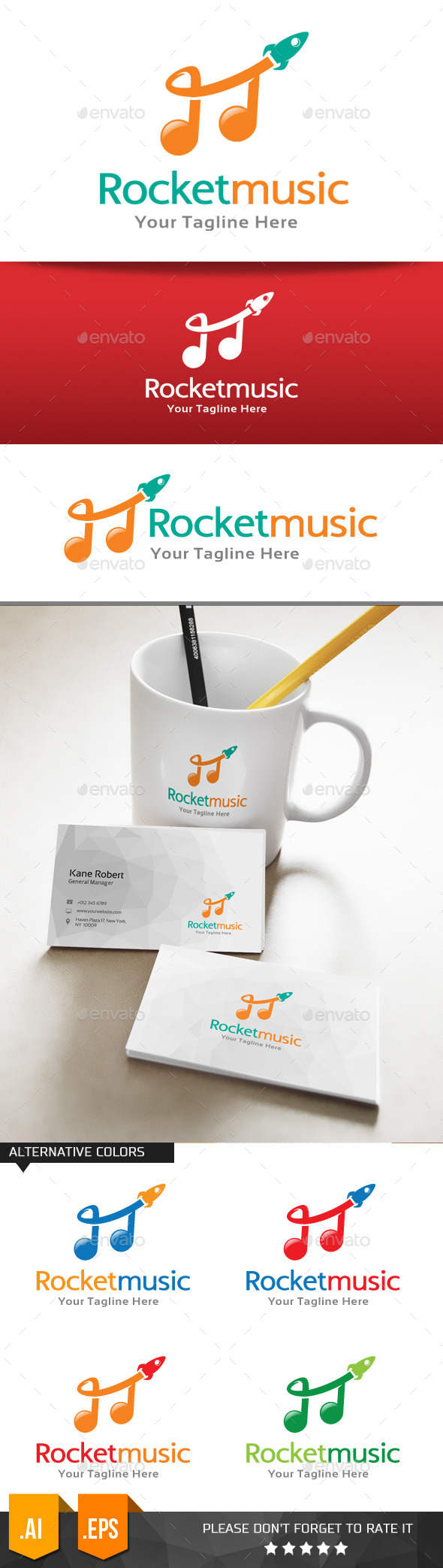 GraphicRiver Rocket Music Logo Template 11074609