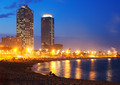 Beach and towers of Port Olimpic in  twilight. Barcelona - PhotoDune Item for Sale