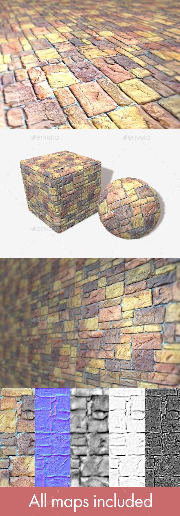 3DOcean Painted Random Bricks Seamless Texture 11077211