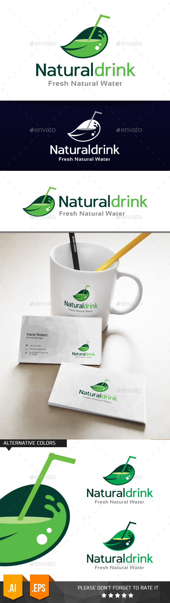 GraphicRiver Natural Drink Logo Template 11079088