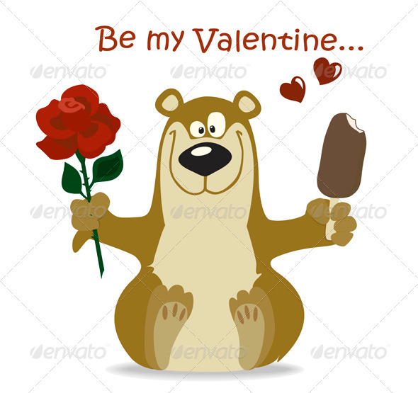 Valentine Bear With Red Rose - Valentines Seasons/Holidays