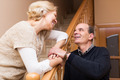 Happy spouses leaning against stairway - PhotoDune Item for Sale