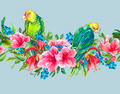 Floral Seamless Border with Tropical Flowers and Green Parrots - PhotoDune Item for Sale