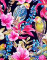 Seamless Background with Tropical Flowers, Parrots - PhotoDune Item for Sale