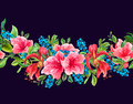 Seamless Watercolor Border with Tropical Flowers - PhotoDune Item for Sale