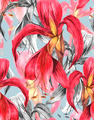 Seamless Exotic Tropical Flowers Background - PhotoDune Item for Sale