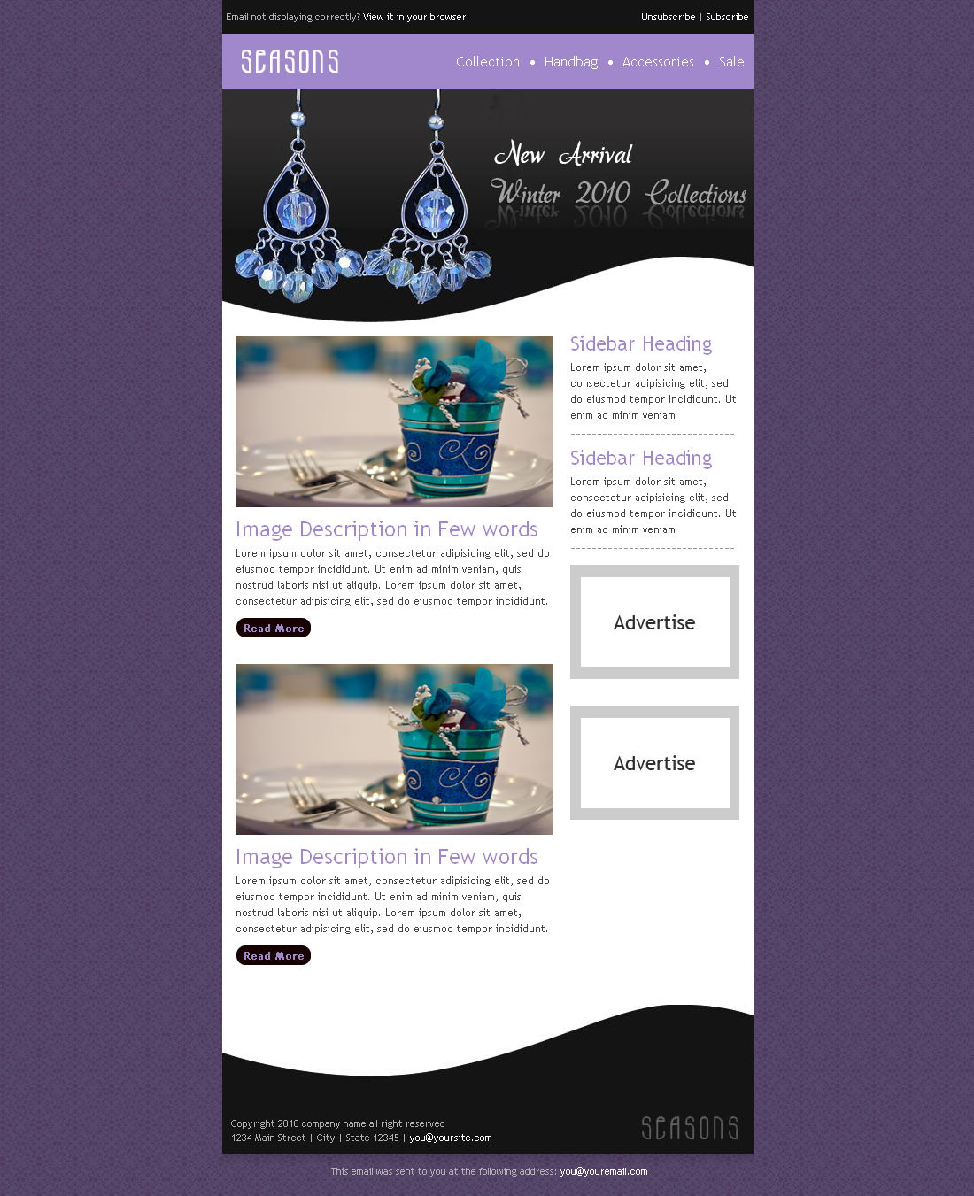 SEASONS Newsletter– 5 Different Layouts