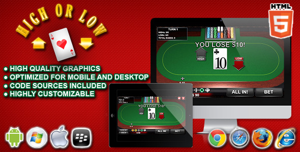 CodeCanyon High or Low HTML5 Casino Game 11080443